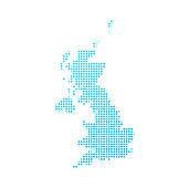 United Kingdom map of blue dots on white background