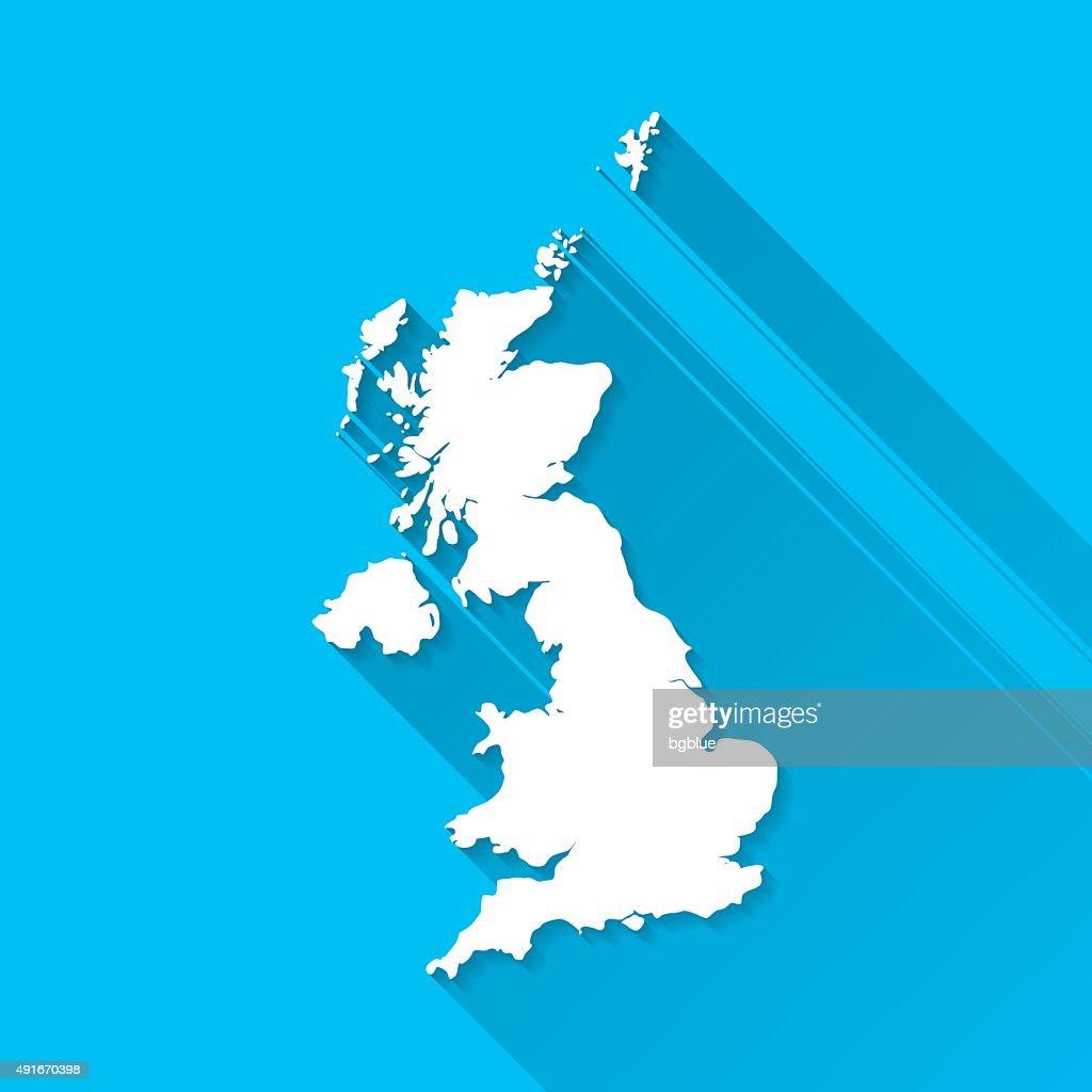 United Kingdom Map On Blue Background Long Shadow Flat Design - United kingdom map vector