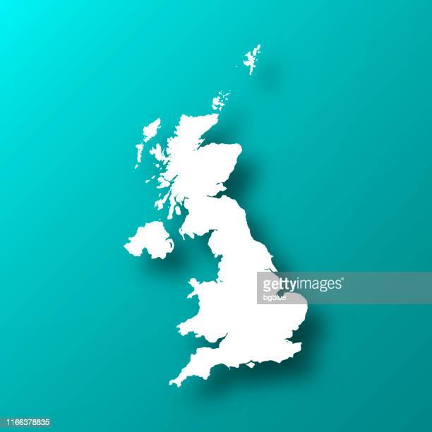 united kingdom map on blue green background with shadow - uk stock illustrations