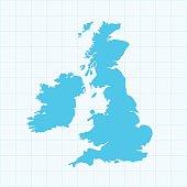 United Kingdom map on grid on blue background