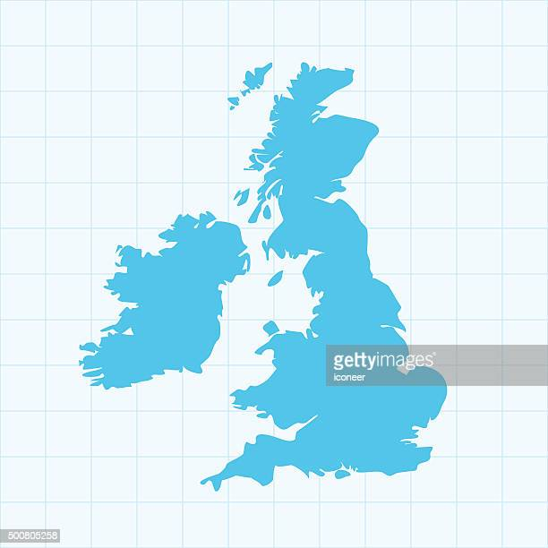 United Kingdom map on grid on blue background