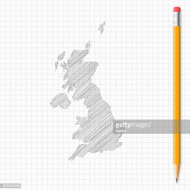 United Kingdom map sketch with pencil on grid paper