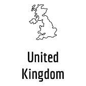 United Kingdom map thin line vector simple