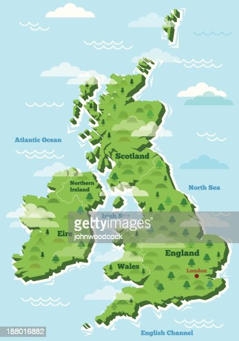 Uk Word Map Illustration Vector Art Getty Images - Map of england and ireland