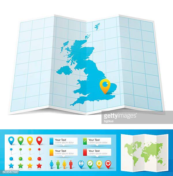 united kingdom map with location pins isolated on white background - distance marker stock illustrations