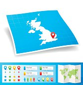 United Kingdom Map with location pins isolated on white Background