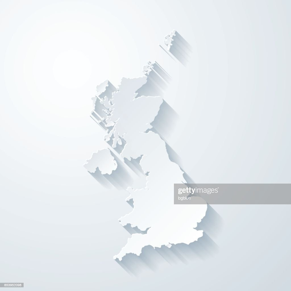 United Kingdom map with paper cut effect on blank background