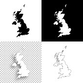 United Kingdom maps for design - Blank, white and black backgrounds