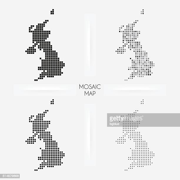 United Kingdom maps - Mosaic squarred and dotted