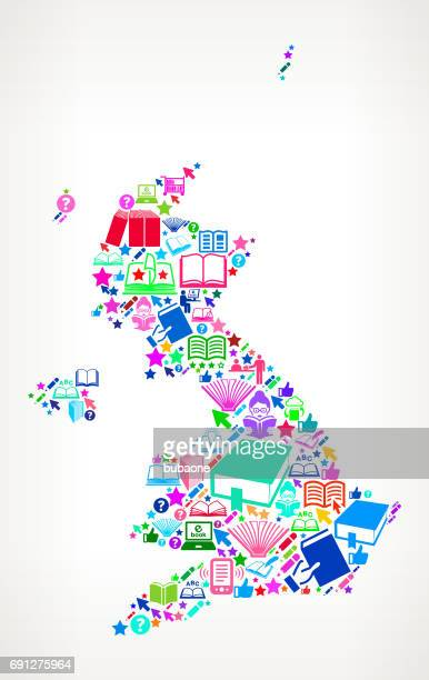 United Kingdom Reading Books and Education Vector Icons Background