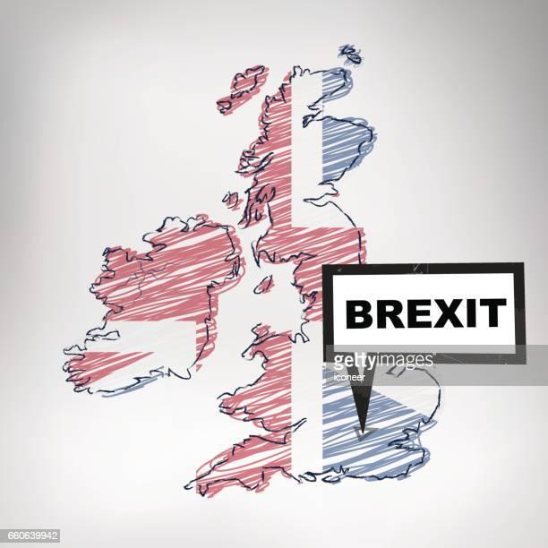 illustrations, cliparts, dessins animés et icônes de united kingdom gribouillée carte avec étiquette brexit sur fond gris - brexit