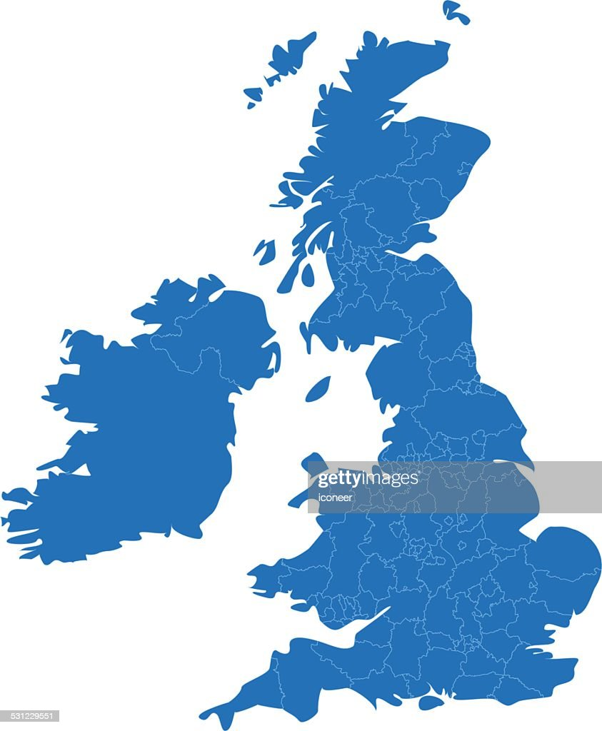 United Kingdom simple blue map on white background