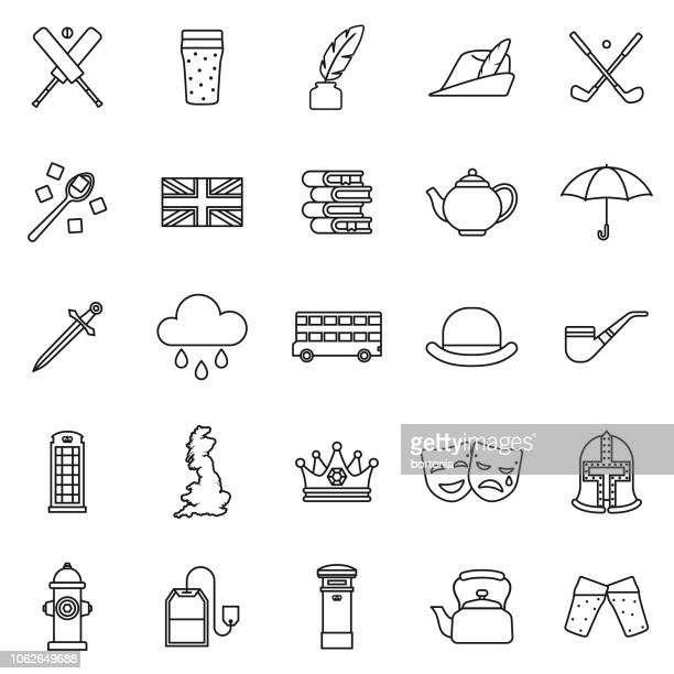 united kingdom thin line outline icon set - england stock illustrations