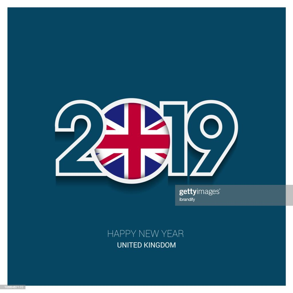 2019 United Kingdom Typography, Happy New Year Background