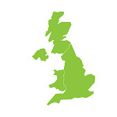 United Kingdom, UK, of Great Britain and Northern Ireland map. Divided to four countries - England, Wales, Scotland and NI. Simple flat green vector illustration