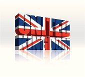 3D United Kingdom (UK) Vector Word Text Flag