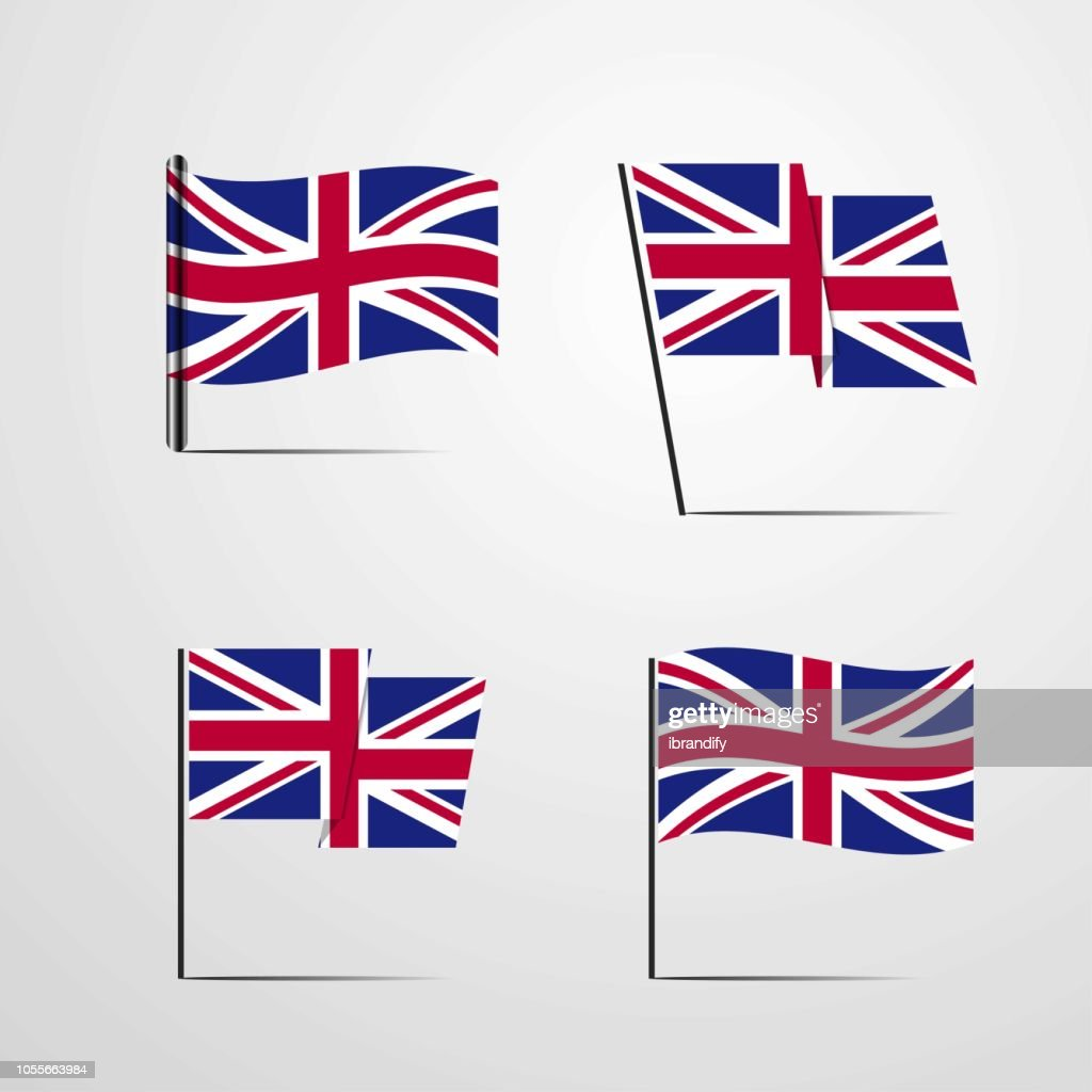 United Kingdom waving Flag set design vector