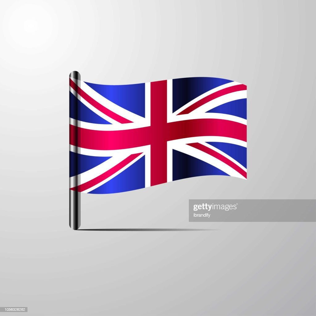 United Kingdom waving Shiny Flag design vector