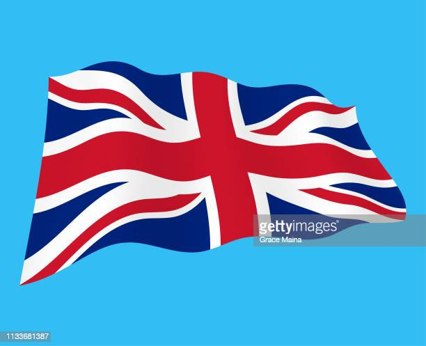 united kingdom wavy flag in the wind - vector - union jack stock illustrations