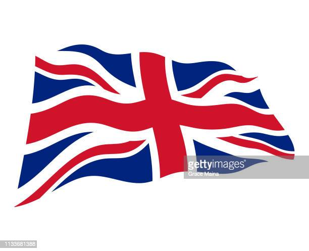 united kingdom wavy flag in the wind - vector - all european flags stock illustrations