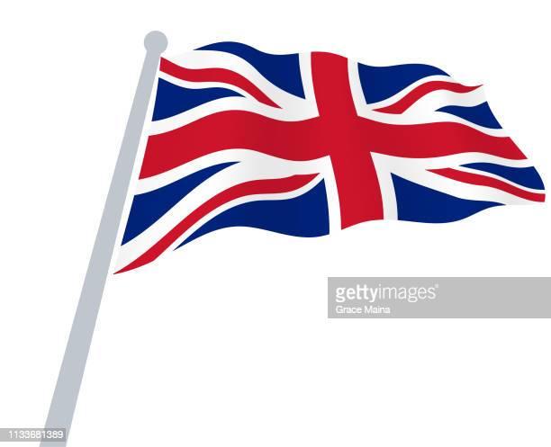 風のベクトルにおける英国の波状旗 - 旗棒点のイラスト素材/クリップアート素材/マンガ素材/アイコン素材