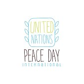 United Nation Peace Day Label Design In Light Colors