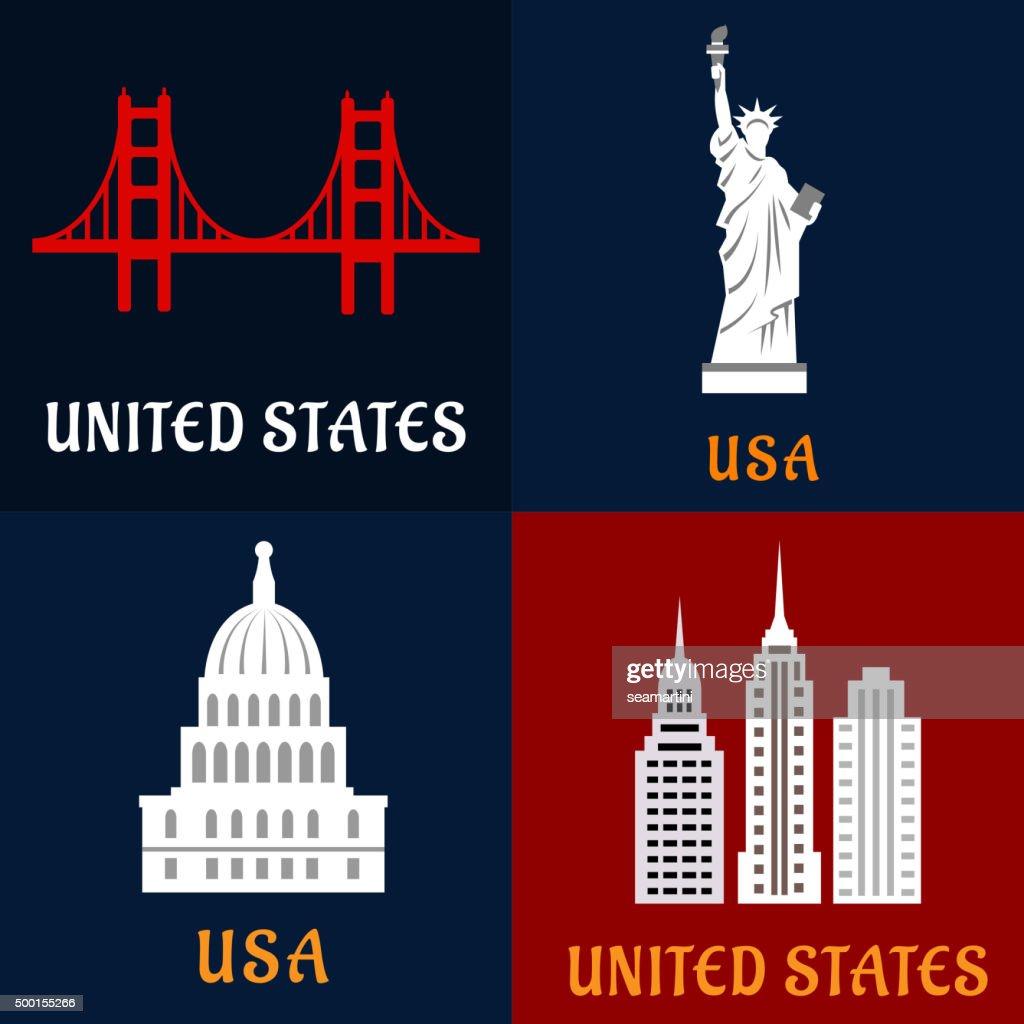 United State landmark and travel flat icons