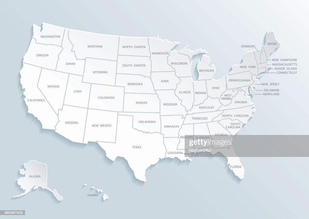 United State of America (U.S.A.) map with city names.