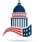United States Capitol and Flag Logo Illustration
