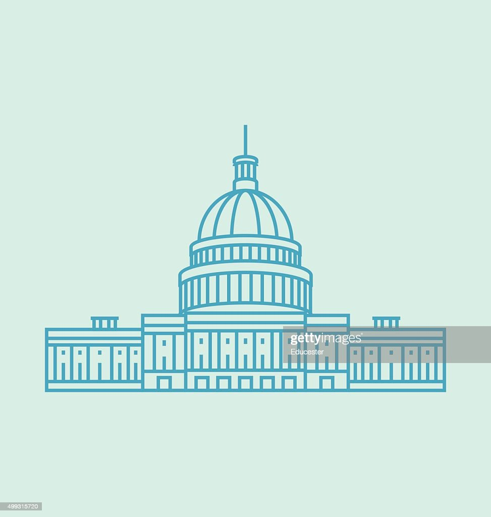 United States Capitol colored icon Illustration
