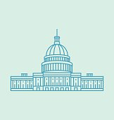 United States Capitol colored icon Illustration