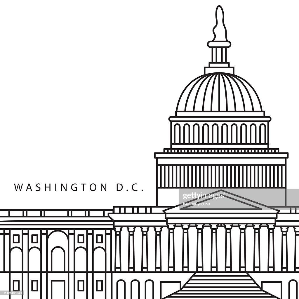 United States Capitol - detailed linear icon, Washington DC.