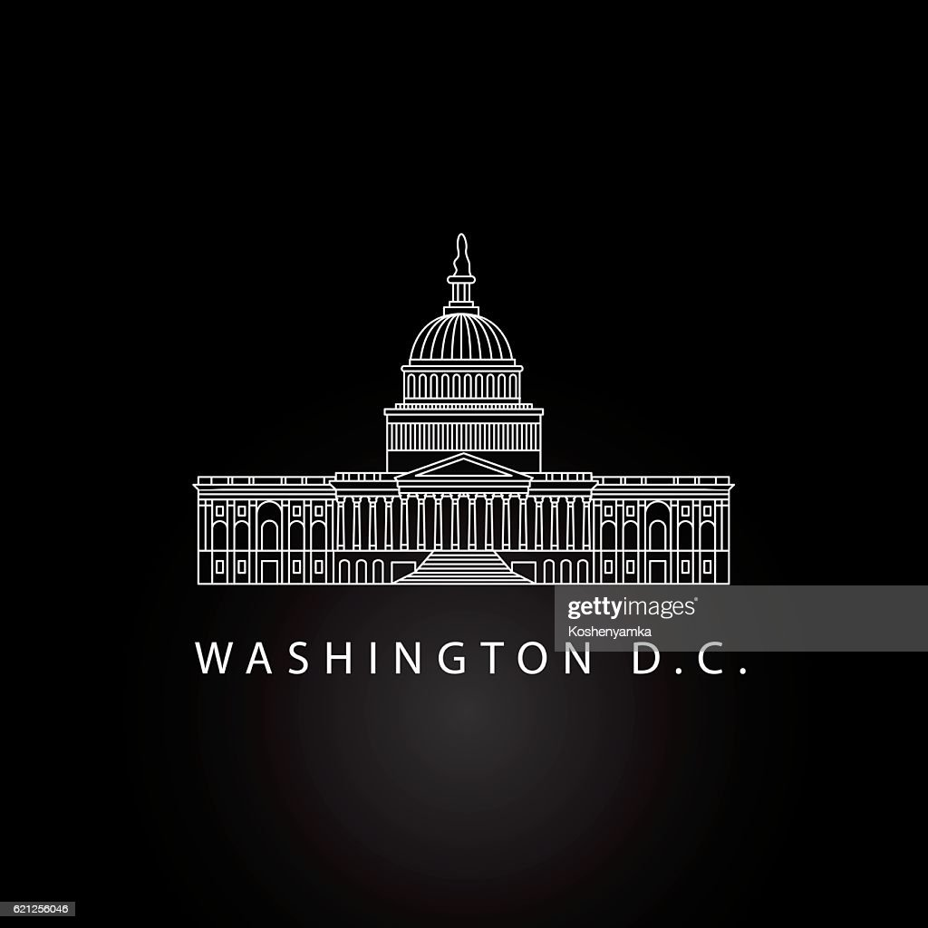 United States Capitol - detailed linear icon, Washington DC.