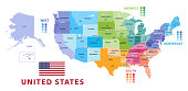 United States census bureau regions and divisions vector map. Flag of United States of America