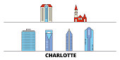 United States, Charlotte flat landmarks vector illustration. United States, Charlotte line city with famous travel sights, skyline, design.
