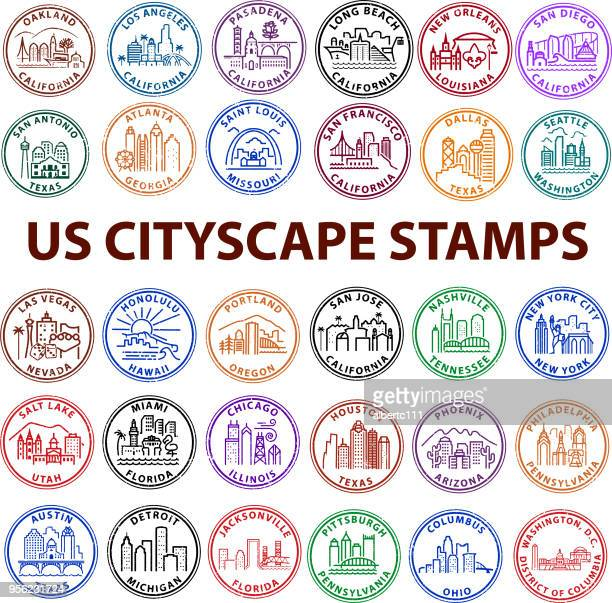 united states cityscape stamps - atlanta stock illustrations, clip art, cartoons, & icons