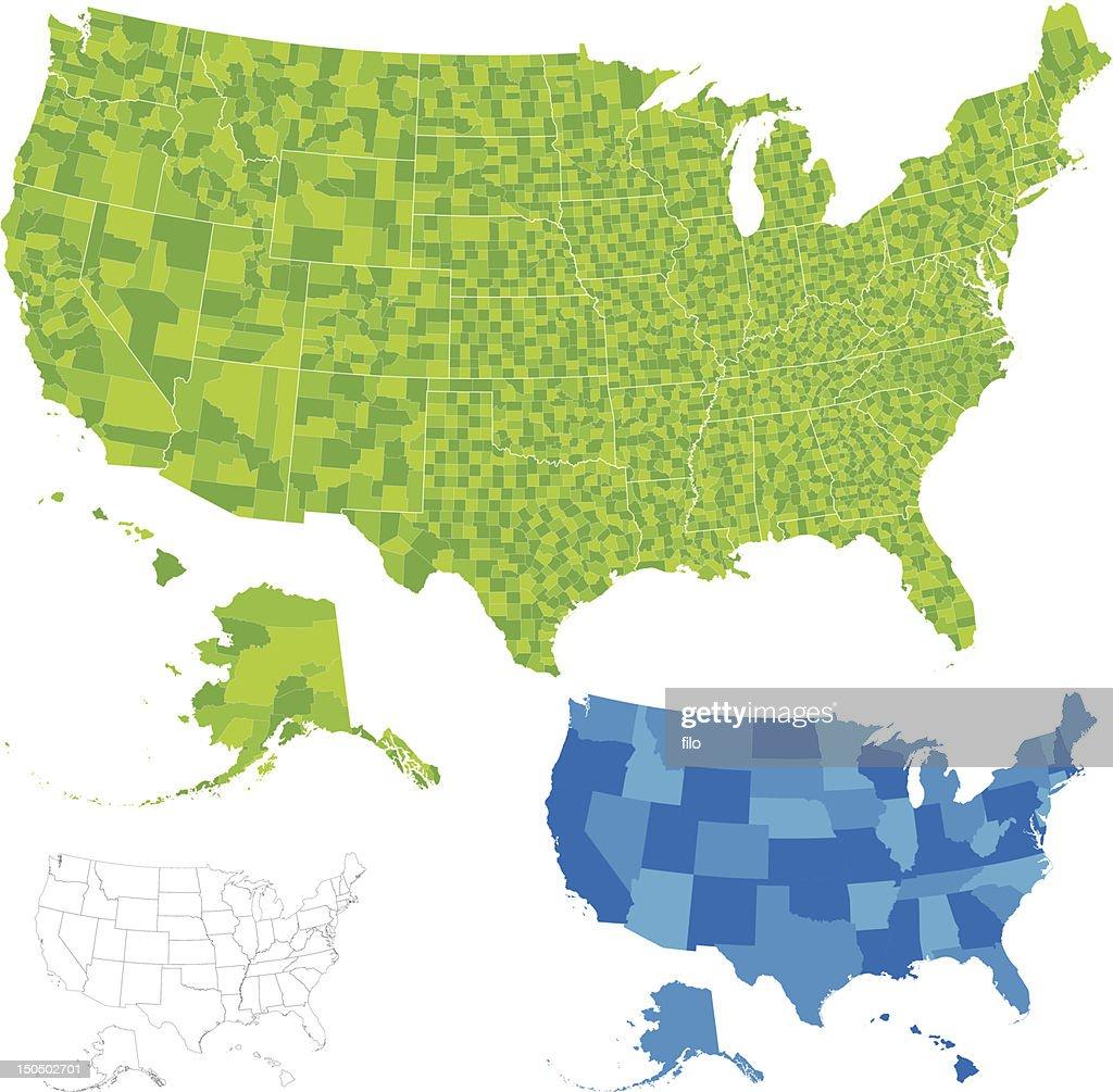 United States County Map : stock illustration