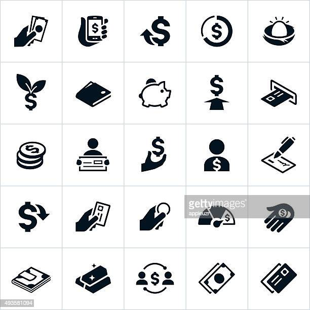 united states currency and money icons - investment stock illustrations