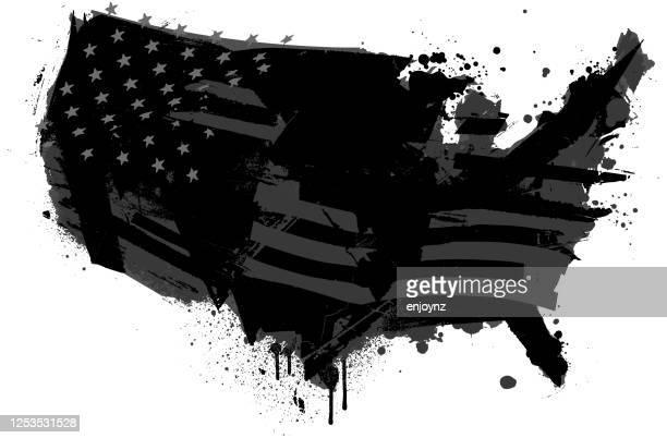 united states distressed black illustration - united states presidential election stock illustrations