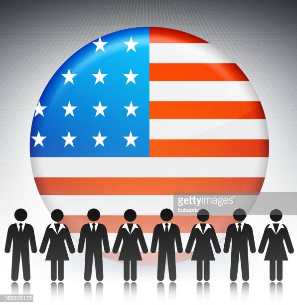 United States Flag Button with Business Concept Stick Figures