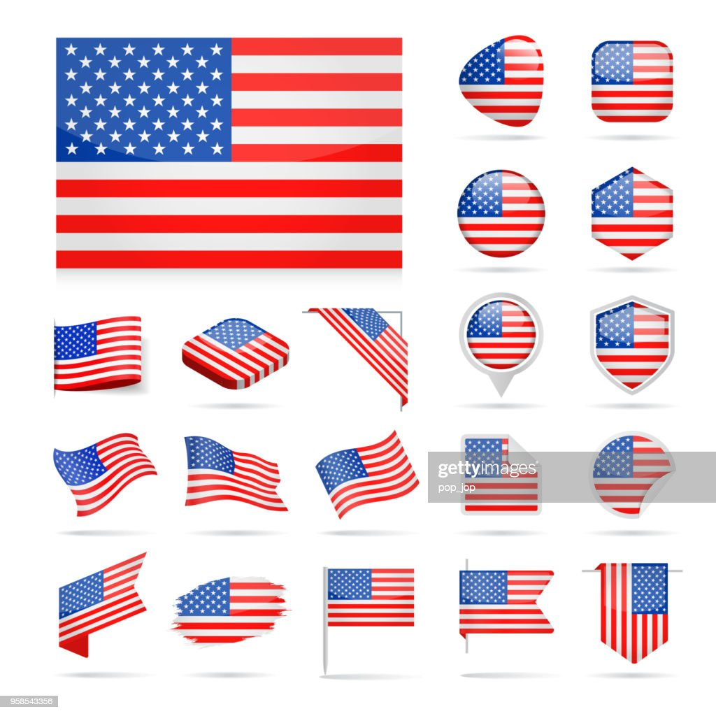 United States - Flag Icon Glossy Vector Set