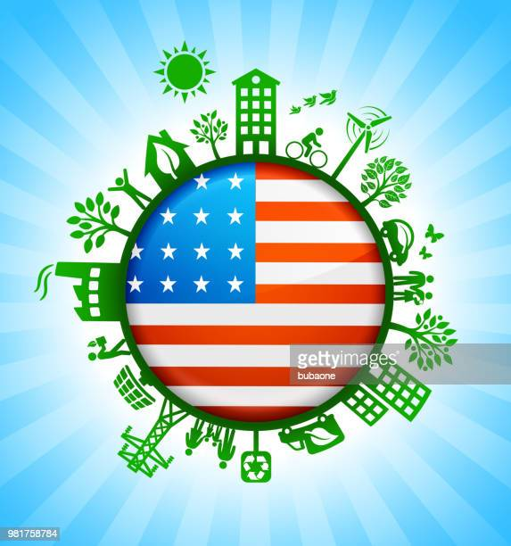 United States Flag on Environmental Conservation Background