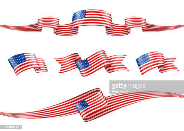 ilustraciones, imágenes clip art, dibujos animados e iconos de stock de conjunto de cintas de bandera de estados unidos - ilustración de vectores de stock - las américas