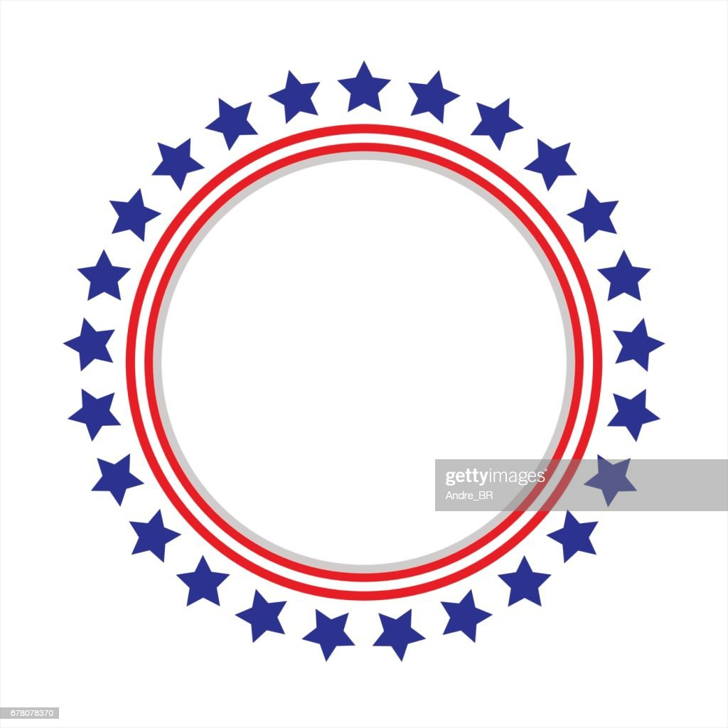 United States flag round frame.