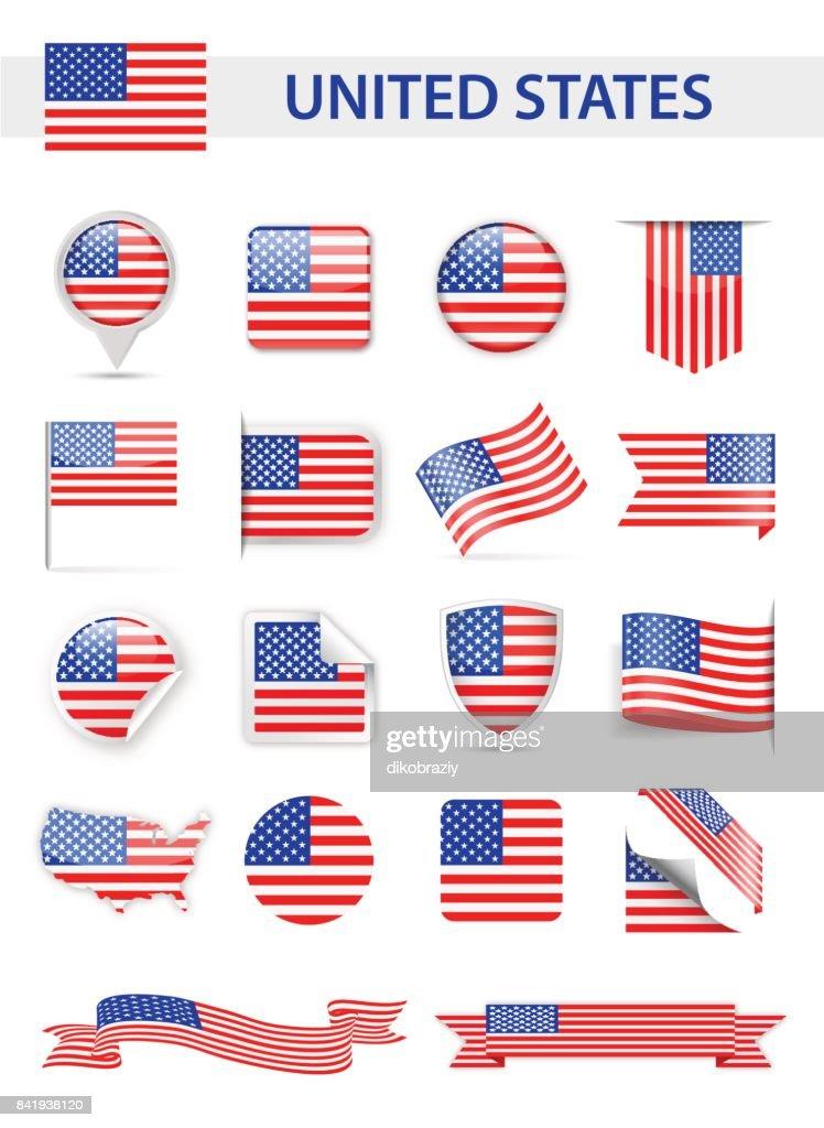 United States Flag Vector Set