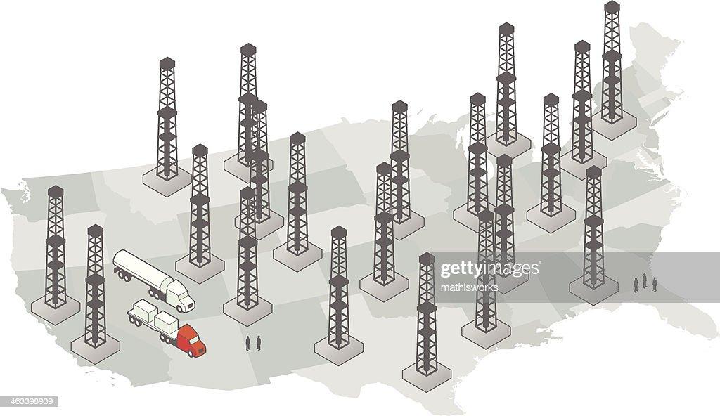United States Fracking Map : stock illustration