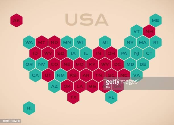 usa united states hexagonal states map - southeast stock illustrations