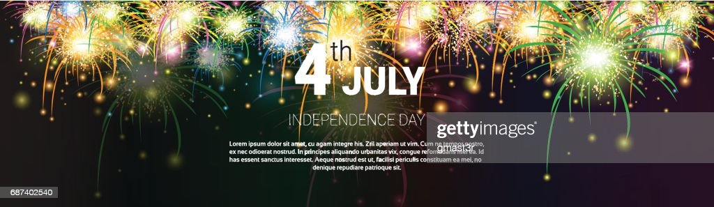 United States Independence Day Holiday 4 July Banner Greeting Card