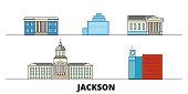 United States, Jackson flat landmarks vector illustration. United States, Jackson line city with famous travel sights, skyline, design.