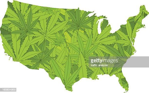illustrations, cliparts, dessins animés et icônes de états-unis fait de cannabis - légalisation